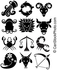 Zodiac Animal Black - Icons: Set of horoscope sign animal...