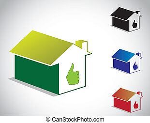 best 3d home icon thumbs up set