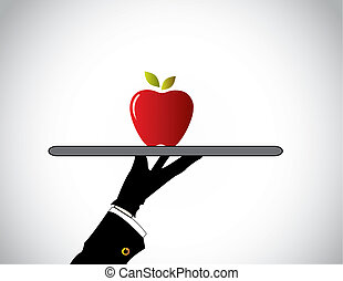 hand silhouette serving red color juicy organic apple...