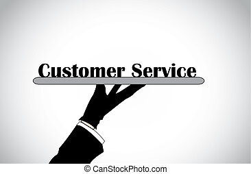 Profesional hand silhouette presenting customer service text...