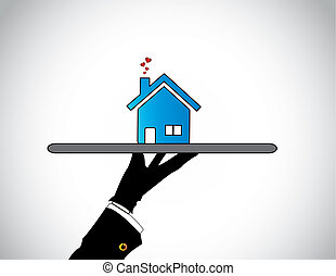 hand silhouette presenting best Home or House with flying hearts. A housing salesman showcasing offering the best blue colored simple apartment or flat to prospective buyers - concept illustration