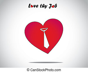 red love or heart shape icon with an tie symbol art. I love my job concept illustration