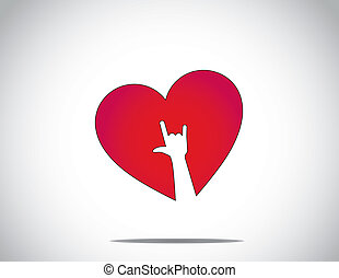 red heart & white i love you hand
