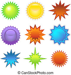 Starburst Set - Set of vibrant colorful starburst sticker...