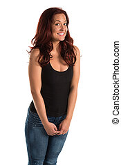 Tank top - Pretty redheaded woman in a black tank top