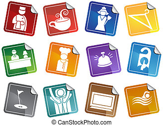 Hotel Sticker Set - Hotel and spa themed icons such as...