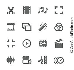 Video Editing Icons - Simple Set of Video Editing Related...