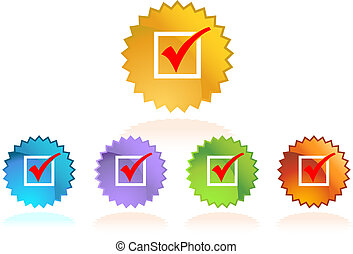 Check Mark Set - Colorful set of red checklist icons with...