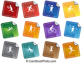 Sports Icon Sticker Set - Sport themed icons of people doing...