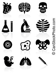 Biology Black Icon Set - Collection of biology science...