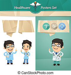 Doctors with Speech Bubbles Set. In the EPS file, each...