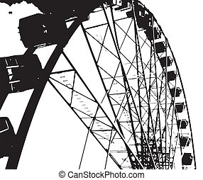 Fairground Big Wheel - A big fairground big wheel in half...