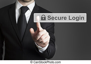 touchscreen secure login businessman - businessman in suite...