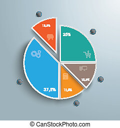 Colored Piechart 5 Pieces - Circle diagram on the grey...
