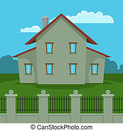 House With Fence - Cartoon house illustration with fence