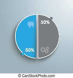 Colored Piechart 50 Percent - Circle diagram on the grey...