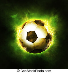 Football Background - The ball surrounded with fire,...
