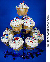 Holiday Stack - Patriotic cupcakes on blue background