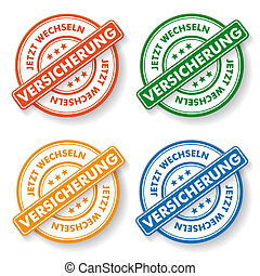 Papper labels - Stemp sticker with german text jetzt...