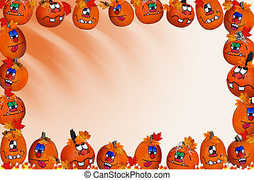 Pumpkin Border - Fun faces on pumpkins