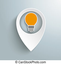 White Location Marker Bulb - Infographic with white location...