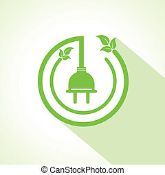 Eco electric plug with leaf stock vector