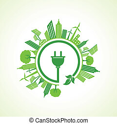 Ecology concept with electric plug illustration