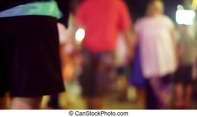 Night marketplace in Koh Samui with blurred background