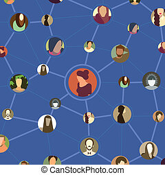 Seamless pattern, various avatar faces in social network -...