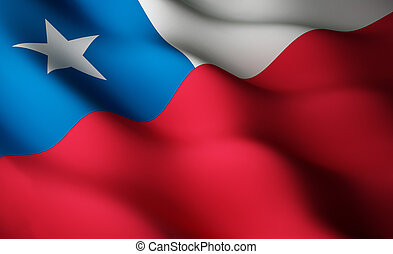 Chilean flag - High resolution flag with fabric surface...