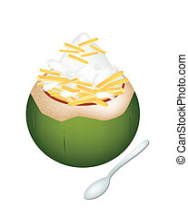Coconut Ice Cream with Jackfruits on White Background -...