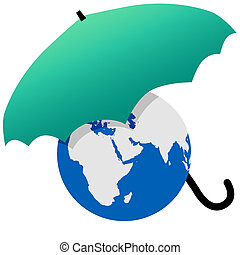 Earth protected by a green world umbrella - Earth protected...