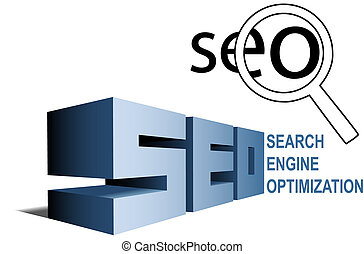 SEO search engine optimization symbols find magnifying glass...