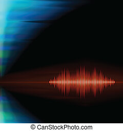 Orange sound waveform on polar lights background - Orange...