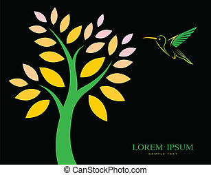 Vector design of trees and hummingbird on black background