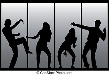 Dancing silhouettes people .