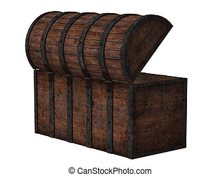 Antique wooden chest isolated on white background-backside