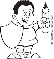 Cartoon boy dressed as a knight - Black and white...