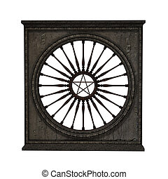 round window in wall, isolated on zhe white background