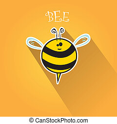 cartoon cute bright baby bee on honey background - vector...