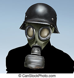 WW2 German Gas Mask - a surreal portrait painting of a...