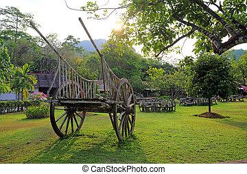 Old Wooden Cart in garden