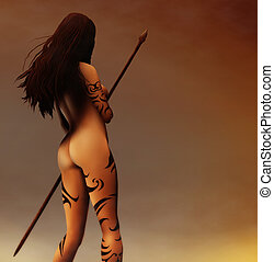 Pagan Hunter - a painting of a tattooed ancient Pagan Woman...