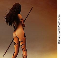Pagan Hunter - a painting of a tattooed ancient Pagan Woman...