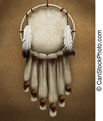 Dream Catcher - painting of a traditional Native American...