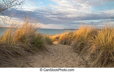 Great Lakes Sand Dune - Path winding along the top a Great...