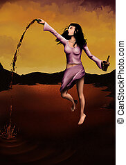 Lake Of Red Wine - a digital painting of a floating woman...