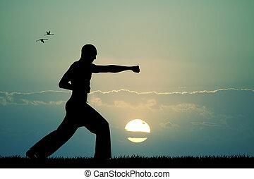 judo at sunset - Illustration of judo at sunset