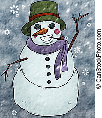 Snowman Clipart - a cartoon illustration of a happy snowman...