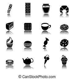 Sweets black icons set - Pastry and sweets black icons set...